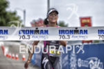 Angela Naeth finishing first at the 2013 Ironman Racine 70.3…