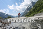 Triathlete climbing the Col d'Ornon during the bike leg of…