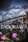 Athletes get in the water for the start of the…