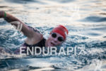 Leanda Cave warms up before the swim start at the…