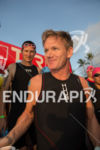 Gordon Ramsay enters water for the start of the swim…