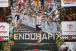 Pete Jacobs reaching the finish at the 2013 Ironman World…