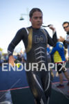 Michelle Vesterby exits the water at Ironman Arizona on November…