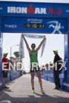 Heather Wurtele (CAN) celebrates victory at the Ironman 70.3 California…