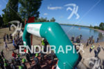 Athletes enter the swim prestart area at the 2014 Challenge…