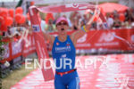 Julia Gajer at the finish of the 2014 Challenge Kraichgau…