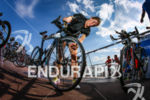 Tine Deckers checks in her bike at the 2014 Ironman…