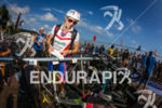 Linda Cave checks in her bike at the 2014 Ironman…