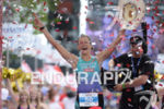 Linsey Corbin at the finish of the 2014 Ironman Austria…
