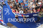 NICE, France : Triathletes at the exit of the swimming…