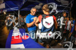 Athletes get body marked at the 2014 Ironman France, Nice,…