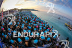 Athletes seconds before the start of the 2014 Ironman France,…