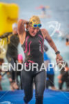 Catlin Snow exists the water at the 2014 Ironman France,…