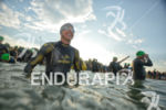 Sonja Tajsich prepares for the swim at the Ironman European…