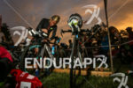 Mirinda Carfrae, future winner of the race, checks her bike…