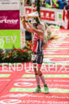 Caroline Steffen takes a beer shower after finishing third at…