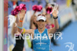 Sonja Tajsich at the finish of the 2014 Ironman Switzerland…