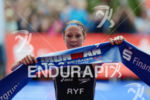 Daniela Ryf at the finish of the Ironman 70.3 European…
