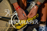 Athletes organizing his cycling shoes at the 2014 Ironman 70.3…