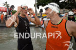 Jan Frodeno and Christian Kramer (l-r) prepare for the swim…