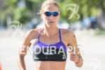 Amanda Stevens during the run portion of the 2014 Ironman…