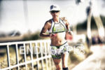 Heather Jackson shortening the gap during the run at Ironman…