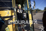 Heather Jackson exits the shuttle bus at the swim start…