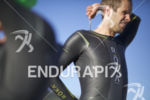 Jordan Rapp preps for the swim start at Wildflower Long…