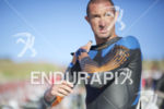 Matty Reed preps for the swim start at Wildflower Long…