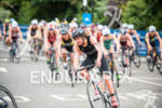 Rebecca Spence competes on the bike stage at the 2015…