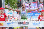 Marino Vanhoenacker celebrates at the finish of the 2015 Ironman…