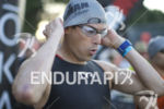 Andy Potts prepares to start the swim leg at Ironman…