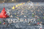 Age groupers during the swim leg at Ironman Coeur d'Alene…