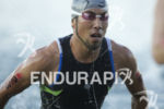 Yu Shinozaki completing the first lap of the swim at…