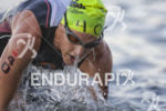 Katy Blakemore completes her first of two swim laps at…