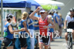 Caroline Steffen competes during the run leg of the Ironman…