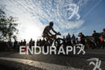 Sebastian Bleisteiner competes during the bike leg of Challenge Roth…