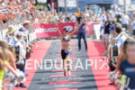 Beth Gerdes celebrates at the finish of the 2015 Ironman…