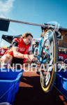 Tim Don prepares his bike before the start of the…