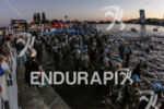 Athletes competing during the swim leg of the inaugural 2015…