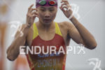 Mengying Zhong (CHN) exits the swim leg at the 2015…