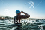 Athlete prepares before the swim start at the 2015 Ironman…