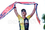Race winner Rosecler Costa during the finish portion of the…