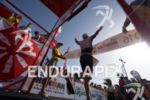 Athlete celebrates at the finish at the 2016 Ironman Lanzarote…