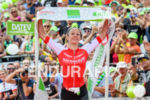 Daniela Ryf celebrates at the finish at Challenge Roth in…