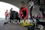 Ashleigh Gentle preps her transition area at the 2016 Beijing…