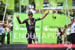 Lionel Sanders during the finish portion of the 2017 Ironman…