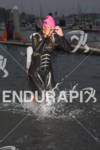 Linsey Corbin exits water at the  Ironman 70.3 California on…
