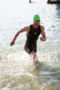 John Dahlz of San Francisco exits the swim…