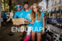 Aid station volunteers during the run leg of the inaugural…